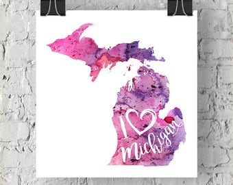 I Heart Michigan Map Art Print, I Love Michigan Watercolor Home Decor Map Painting, MI Giclee US State Art, Housewarming Gift, Moving Gift