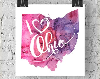 I Heart Ohio Map Art Print, I Love Ohio Watercolor Home Decor Map Painting, OH Giclee US State Art, Housewarming or Moving Gift, Hand Drawn