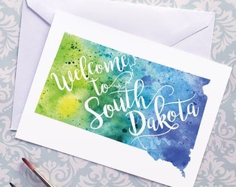South Dakota Watercolor Map Greeting Card, Welcome to South Dakota Hand Lettered Text, Gift or Postcard, Giclée Print, Map Art, 5 Colors