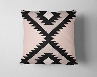 Oversized navajo tribal pattern throw pillow - Black