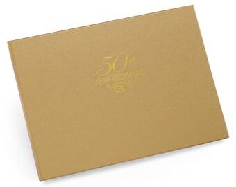 Gold 50th Anniversary Guest Book/ 50th Anniversary Guest Book/ Gold and Gold Foil 50th Anniversary Guest Book