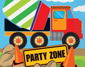 Construction Party Beverage Napkins/Mixer Truck Construction Napkins/Construction Party Napkins 16 CT