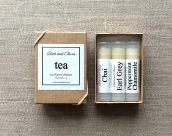 Set of 3 Tea Lip Butters, lip balms, Earl grey lip balm, chai lip balm, peppermint chamomile lip balm, gift ideas for women