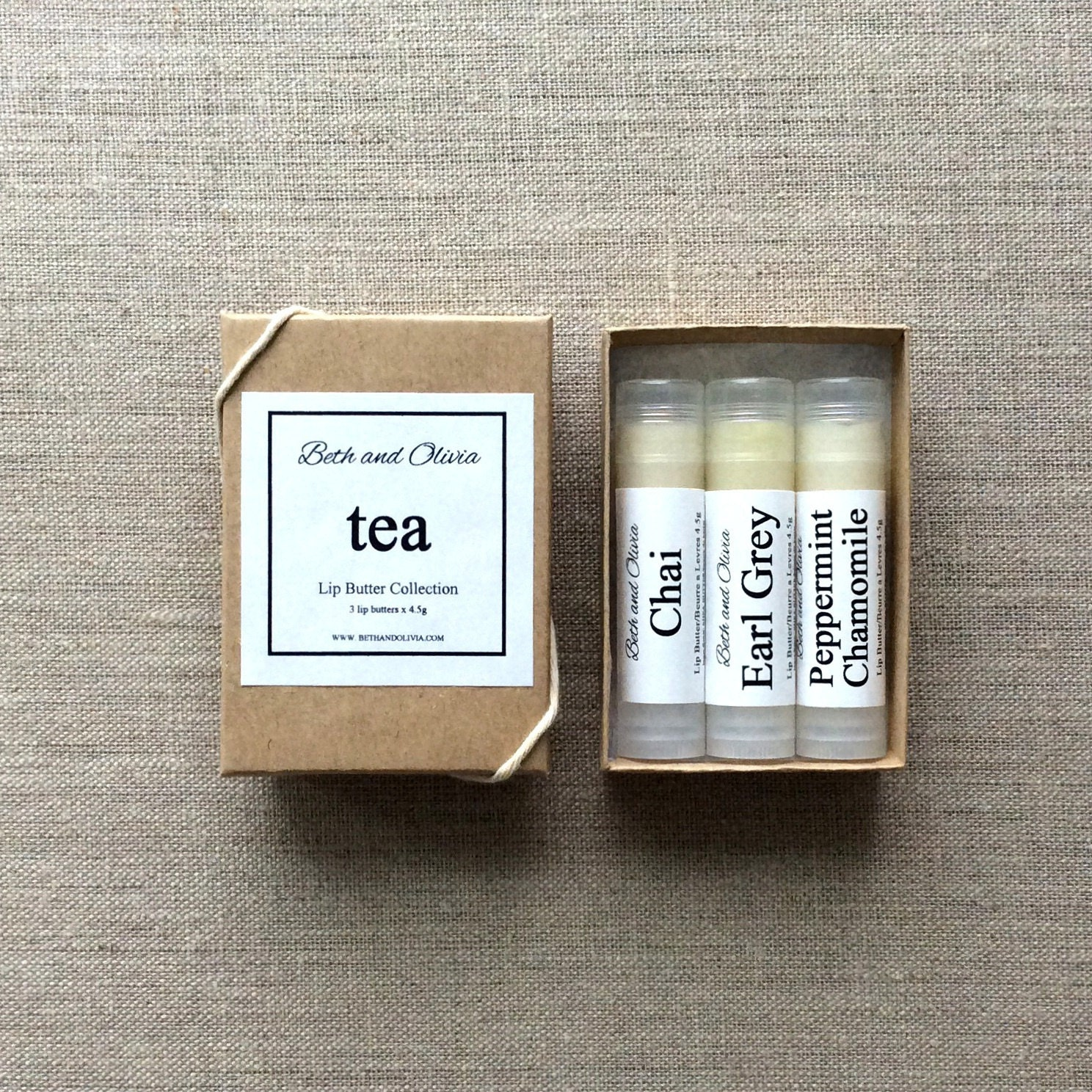 Set of 3 Tea Lip Butters, lip balms, Earl grey lip balm, chai lip balm, peppermint chamomile lip balm, gift ideas for women