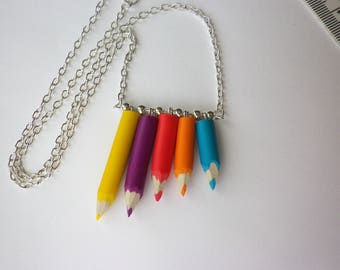 Necklace color pencils carved multicolor gift teacher aides