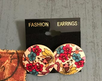 Large Blossom Button Post Earrings