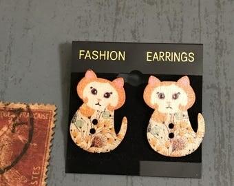 Cat Button Post Earrings