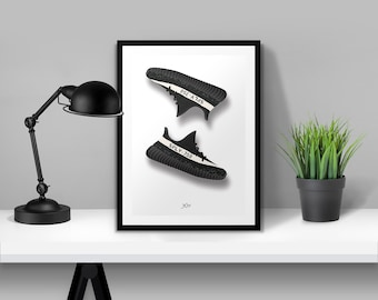 Yeezy Boost 350 v2 Black Illustrated Poster Print | A6 A5 A4 A3