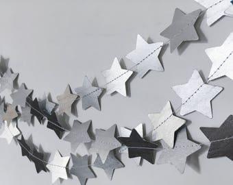 Stars Metallic Silver Paper Garland