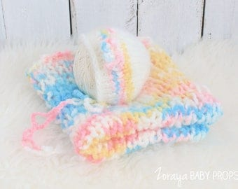 Yellow, Pink, White,Baby Blue Layering Blankets, Newborn Bonnet,Newborn Blankets,Knit Blankets, Posing, Newborn Props ,Bump Blanket, Fillers