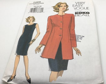 Vogue Very Sewing Pattern 7469  Koko Beall Misses Jacket And Dress Semi Fitted Fitted Bodice Mid Knee Size 12 14 16 New Uncut FF