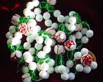 Vintage White Faceted and Green Plastic Beads with Flower beads