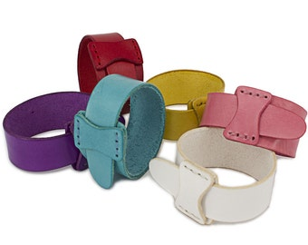 Colorfull Cuff Bracelet, Leather Wristband, Free shipping