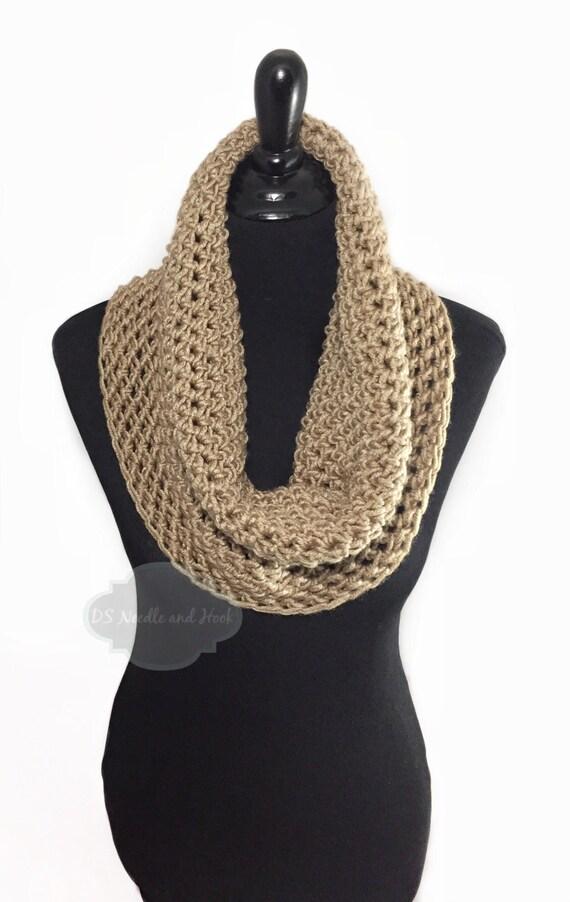 Taupe Crochet Scarf, Brown Cowl, Light Brown Infinity Scarf, Khaki Neck Warmer, Handmade Tan Crochet Scarf, Beige Snood Scarf