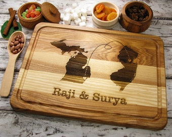 Personalized Cutting Board, State Cutting Board Any Two State or Country, Wedding Gift, Map Board, Custom State, Two States or Countries