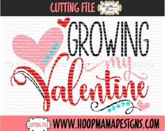 Growing My Valentine SVG DXF eps and png Files for Cutting Machines Cameo or Cricut - Pregnancy ...