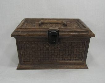 Lerner Sewing Box, Faux Wood Wicker Sewing Box, Vintage Sewing Storage Box, Plastic Sewing Box