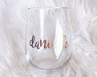 Personalized 21oz Stemless Wine Glasses perfect for Bridesmaids Gift or Bachelorette Party Favor