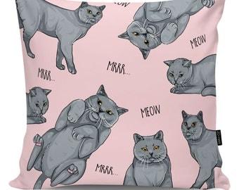 Decorative pillow British Cat Lover pink