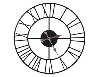 Wall clock metal black