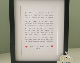 OUR SONG / First Dance Personalised Word Art Print - Wedding / Anniversary (inc p&p)
