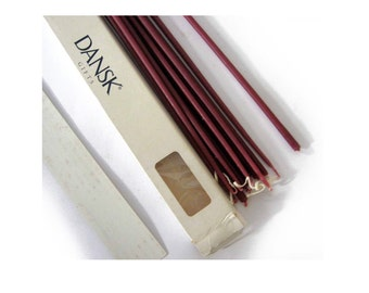 Vintage, New in Box 12 Dansk Slim Taper Candles, Burgundy Danish Tiny Tapers Uncut 16.5 inches Long, Mint Condition