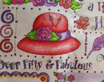 Red Hat Society Red Hats Fabric - Out of Print ~ Sold by the Fat Quarter , 100% Cotton