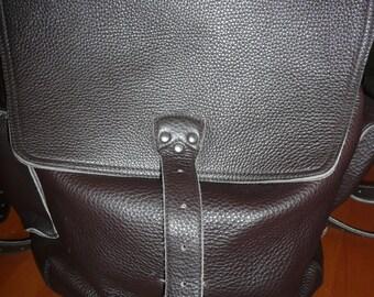 Large brown leather Backpack travel bag