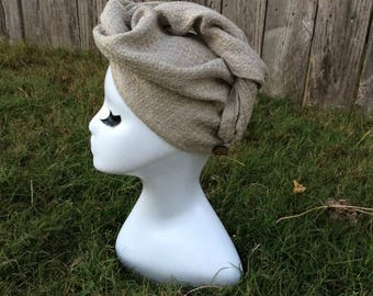 Waffle Linen Turban Hair Towel, Linen Hair Turban, ZERO tangles or snarls. Thick and Soft, Holds lots of hair   Handmade