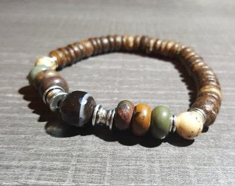 elastic bracelet for man, stone bracelet, onyx, jasper