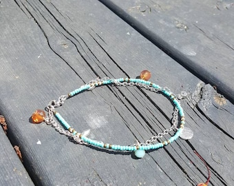 Anklet bracelet, chain, bohemian, Czech seed beads, summer, beach, turquoise
