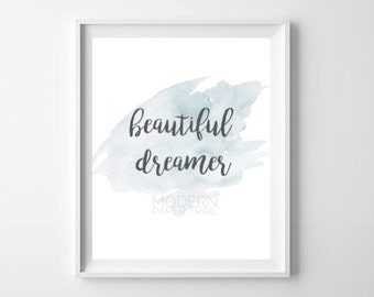 New Baby Boy Nephew Nursery Blue Beautiful Dreamer Star Watercolor Print Baby shower Quote