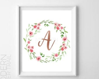 Rose Gold Monogram Print, Custom Print, Initial Letter , Typography Art, Nursery Art, Floral Art, Instant download | For nursery, baby, mom
