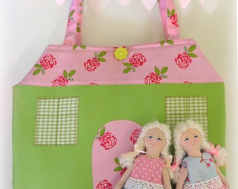 Portable Fabric Dollhouse, two textile dolls, Role Playing Miniatures, Textile dollhouse, Travel Dollhouse, Dollhouse-bag, Made to order