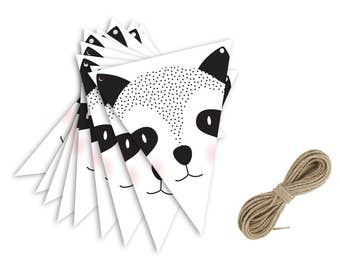 Panda Bunting - Garland - Baby Nursery - Kids Room - Black & White - Natural Jute - Home Decor