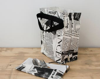 Newspaper lunch bag. Lunch tote.  Lunch box . Reusable lunch bag. Food bag. Newspaper bag