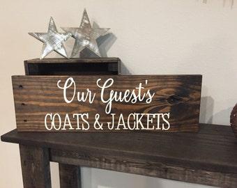 """Pallet Our Guest's Coats and Jackets Sign - 5.5""""x24"""" - Home Family Love Rustic Decor Farmhouse Style Fixer Upper Wooden (Item - HMS100)"""