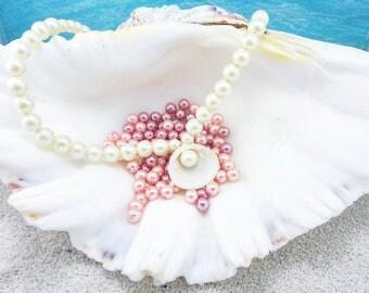 Pearl necklace, mermaid jewelry, mermaid necklace, mermaid accessories, beach jewelery, aquatic jewelry, ocean necklace, sea necklace