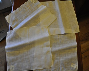 Vintage White Irish Linen Napkins- Set of 4 BRAND NEW
