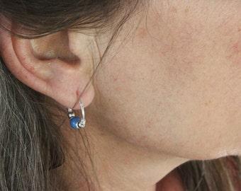 Small sterling silver loop earrings small silver hoops earrings luminous ceramic beads delicate sterling silver hoops earrings tiny hoops