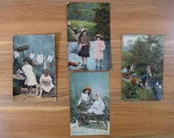 4x Antique Hand painted Tinted postcards children toddler playing card postcard