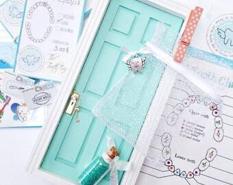 Mint Tooth Fairy Door Kit, Teal Fairy Door, Tooth Fairy Receipts, Lost Tooth Chart, Tooth Fairy Charms, teal fairy dust