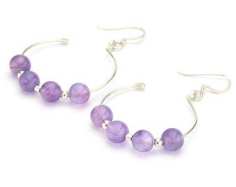 Amethyst earrings, Amethyst hoop earrings, Purple earrings, Lilac stone earrings, Gemstone earrings, Hoop Silver earrings, Amethyst jewelry