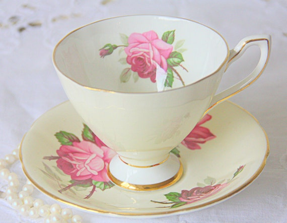 Lovely Vintage Taylor & Kent Bone China Soft Yellow Cup and Saucer, Rose decor, Made in England