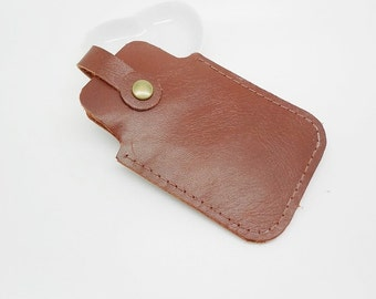 cover or mahogany or black leather cell phone case