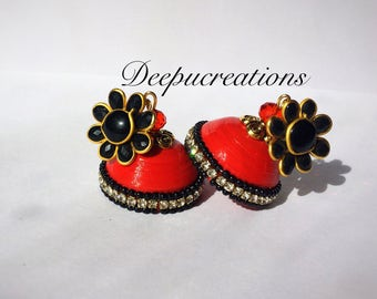 Quilling red and black jhumka - quilling earrings