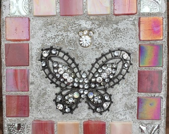 "Mosaic Mixed Media ""Rose Butterfly"" Ornament Treasure Stone"