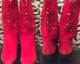 Vintage 1970s 1980s Red Suede Western Boots Italian SUEDE Cowboy Boots Leather Boots Retro Disco Boho Hippie