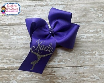 Purple Gymnastics Hair Bows,Gymnastics Hair Bows,Personalized Gymnastics Hair Bow,Custom Hair Bows,Gymnastics Bows,Name Gymnastic Bows.