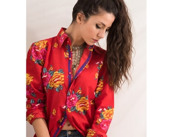 Cotton Shirt Red Flowers